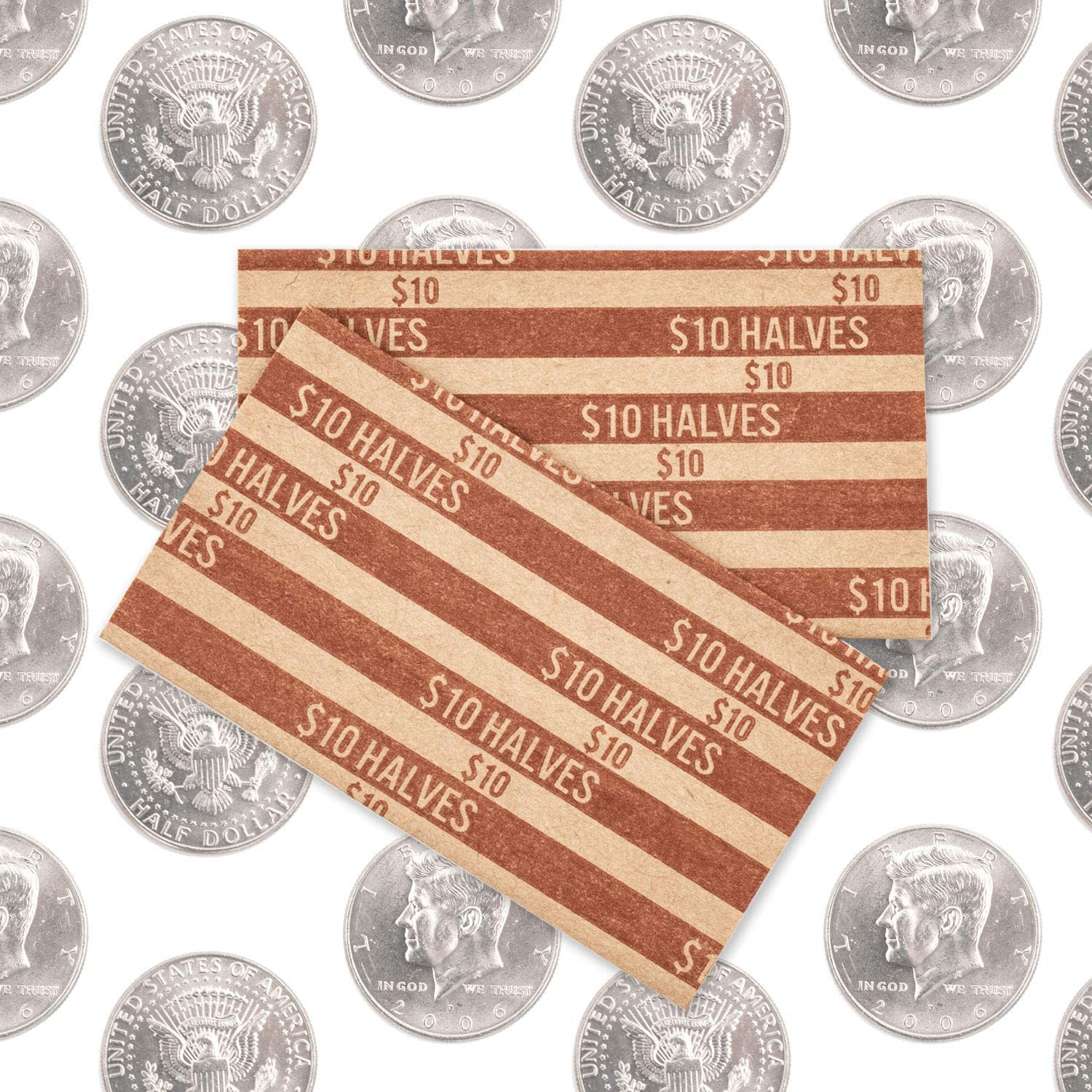 Half Dollar Flat Coin Wrappers Solid Bundle of 100