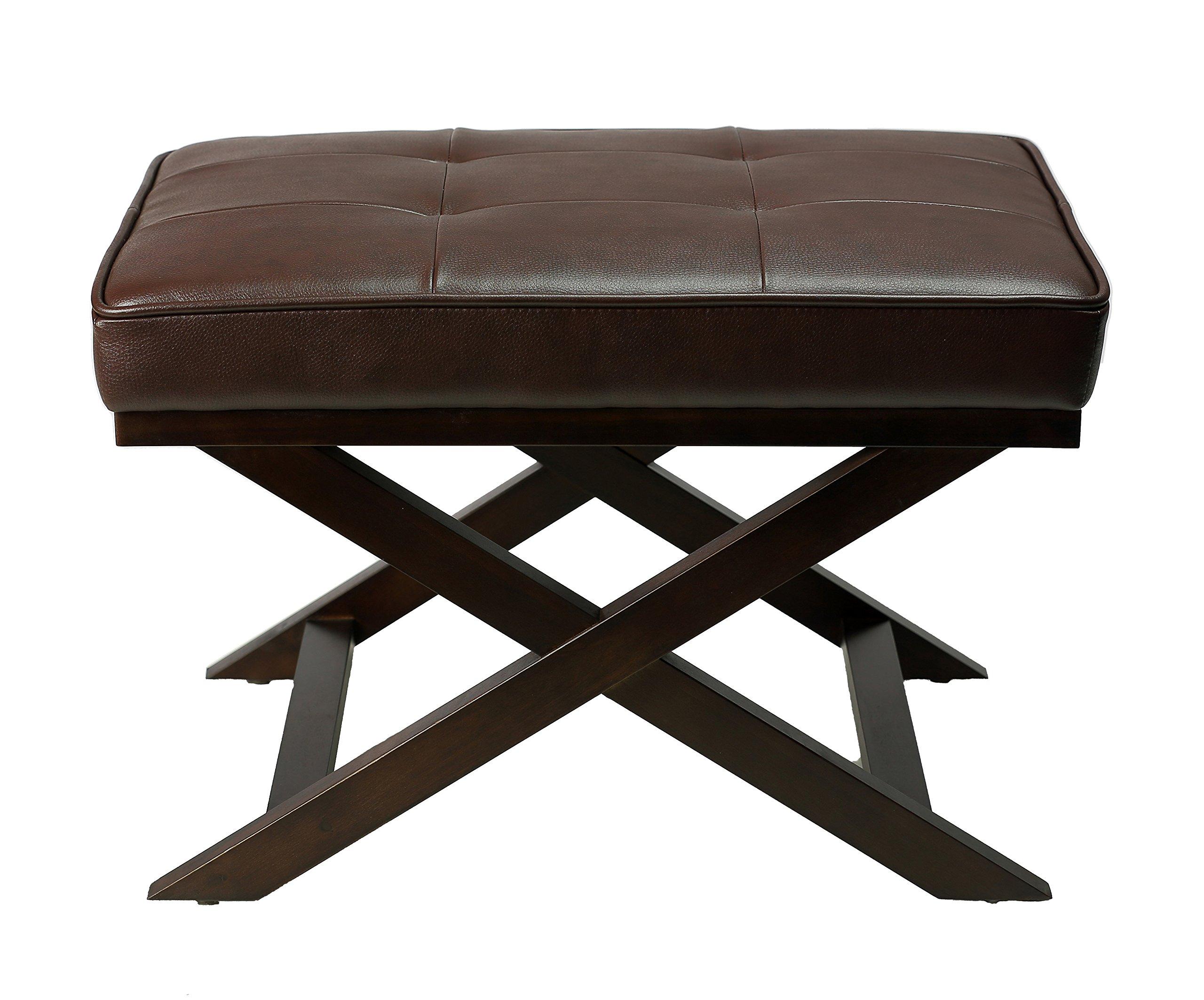 Cortesi Home Ari ''X'' Bench Ottoman in Bonded Leather with Dark Walnut Wood Legs, Brown