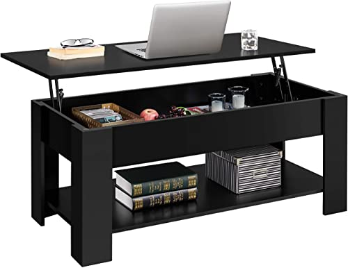 YAHEETECH Lift Top Coffee Table w/Hidden Compartment and Open Storage Shelf