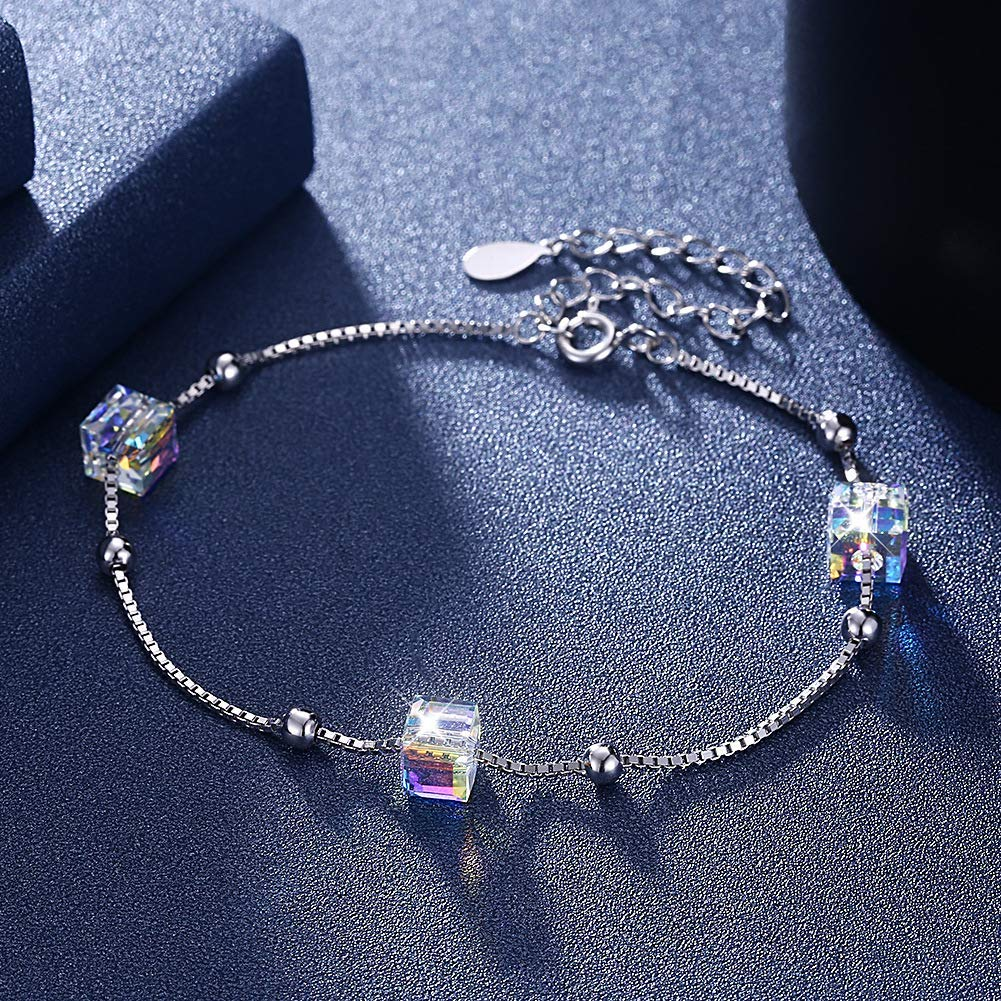 Beautiful and Delicate Bracelet Crystal Bracelet European and American Fashion Sterling Silver 925 Square Bracelet