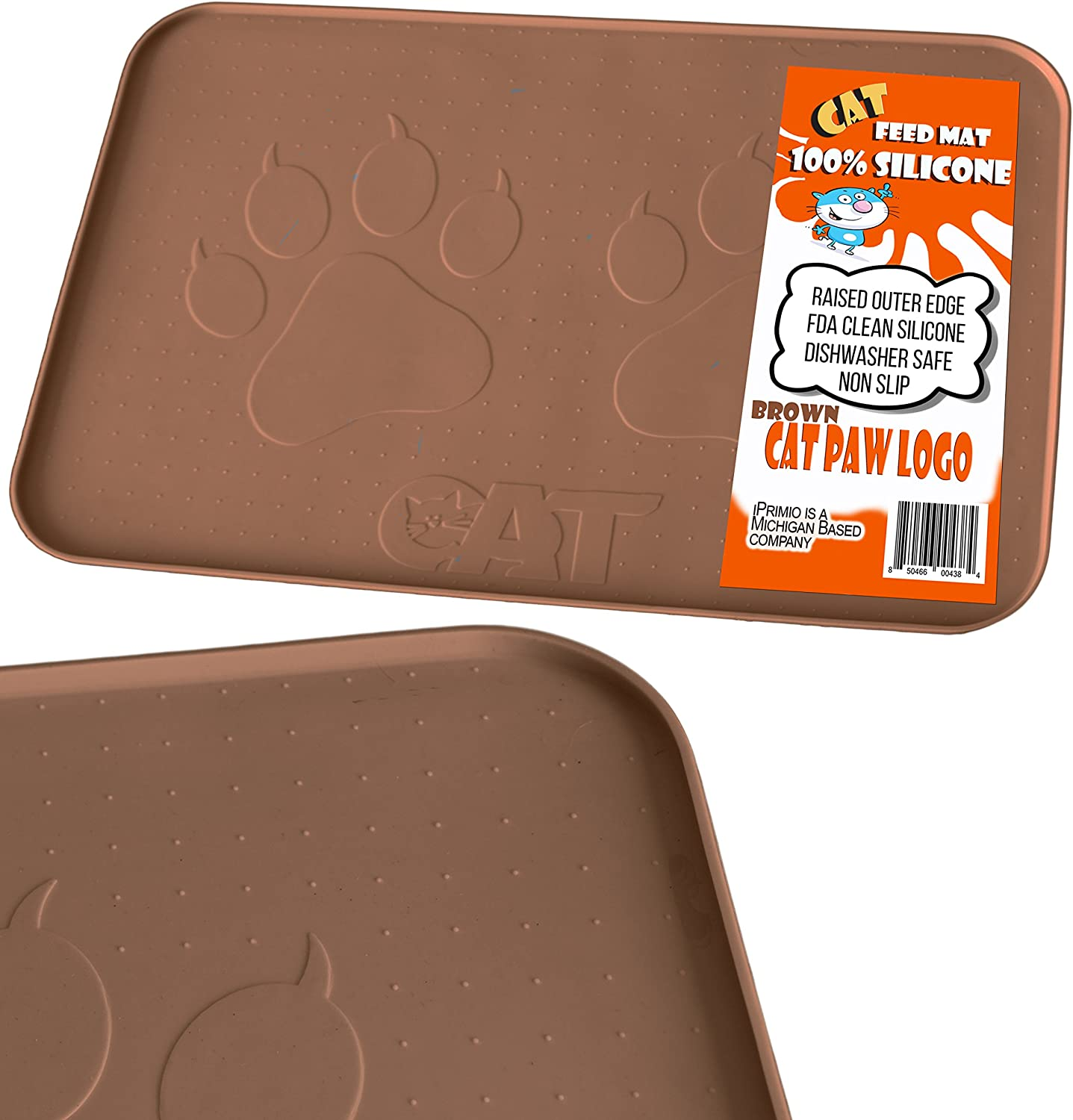 """iPrimio Large Cat Feeding Mat with Paw Logo. Premium FDA Silicone (Gray - 22"""" X 14"""") Perfect Size. Hygienic and Safe for Allergic Cats. Dishwasher Safe. Aniti Spill Edge. No Slip."""