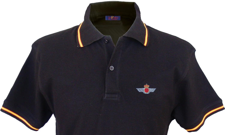 Pi2010 – Polo Ejército del Aire para Hombre, Color Negro, Bandera ...