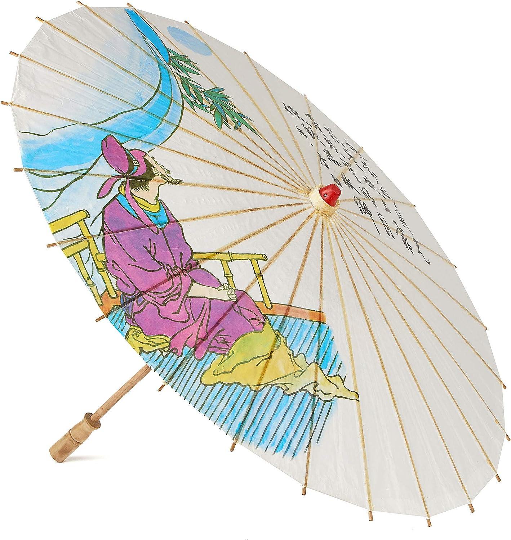Ombrellino cinese ombrello in legno e carta 85 cm