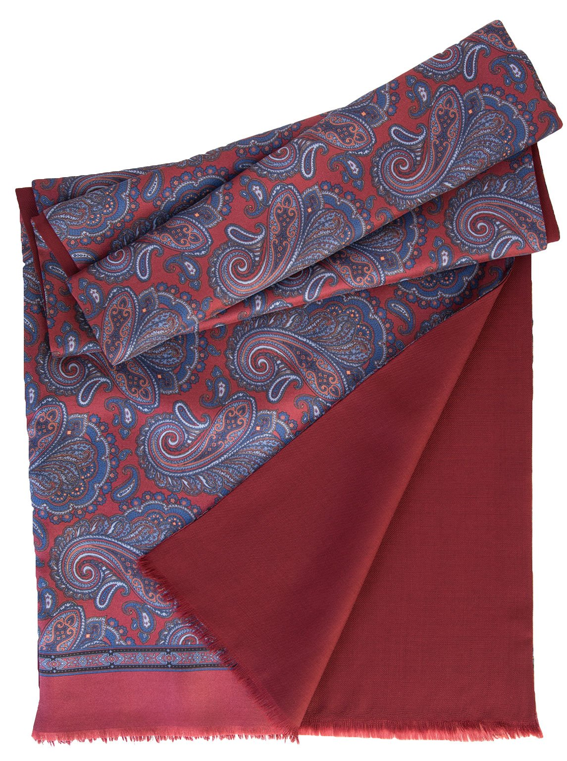 Elizabetta Men's Italian Silk Scarf-Paisley Print-Wool Lined-Burgundy & Blue