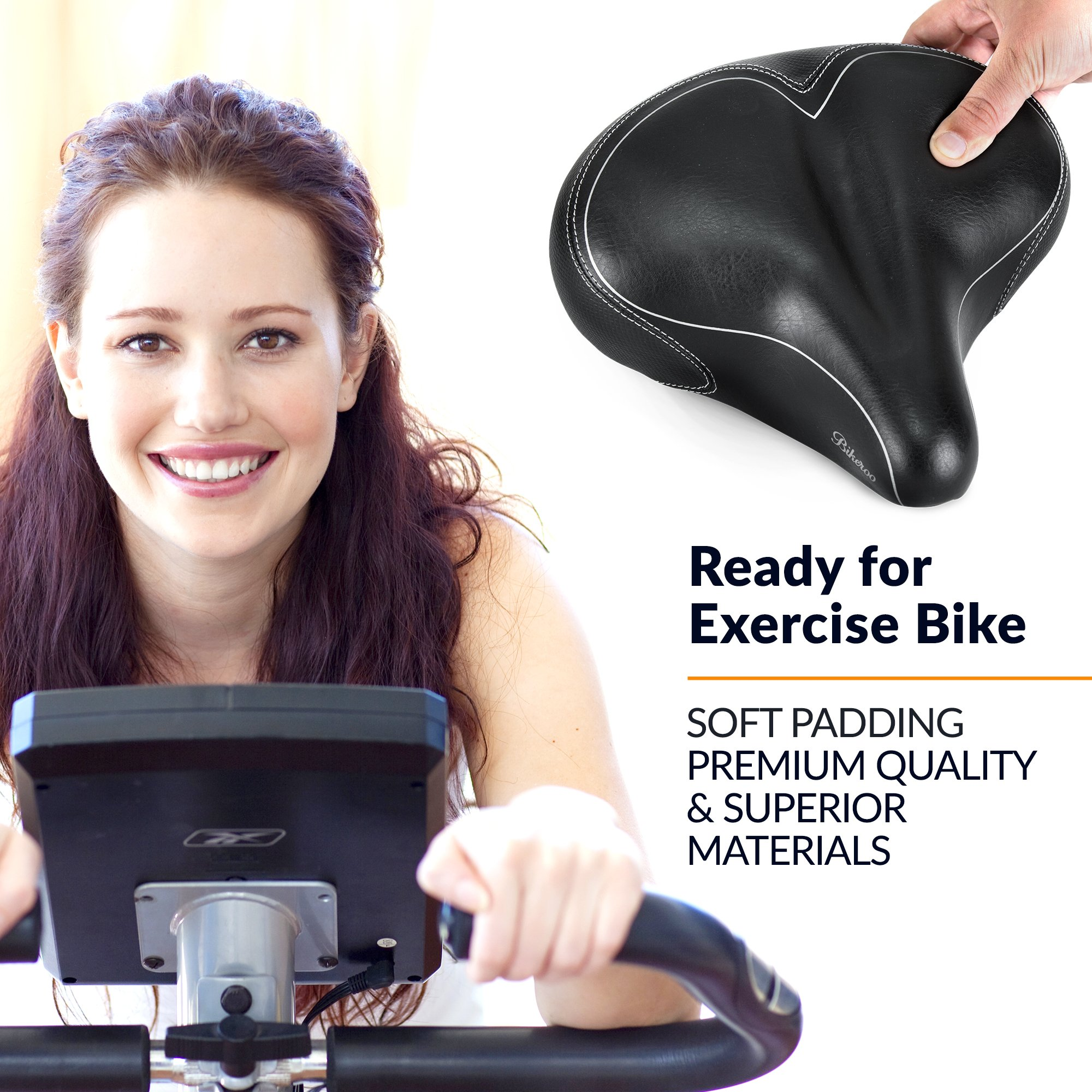Bikeroo Oversized Comfort Bike Seat Most Comfortable Replacement Bicycle Saddle - Universal Fit for Exercise Bike and Outdoor Bikes - Wide Soft Padded Bike Saddle for Women and Men by Bikeroo (Image #8)