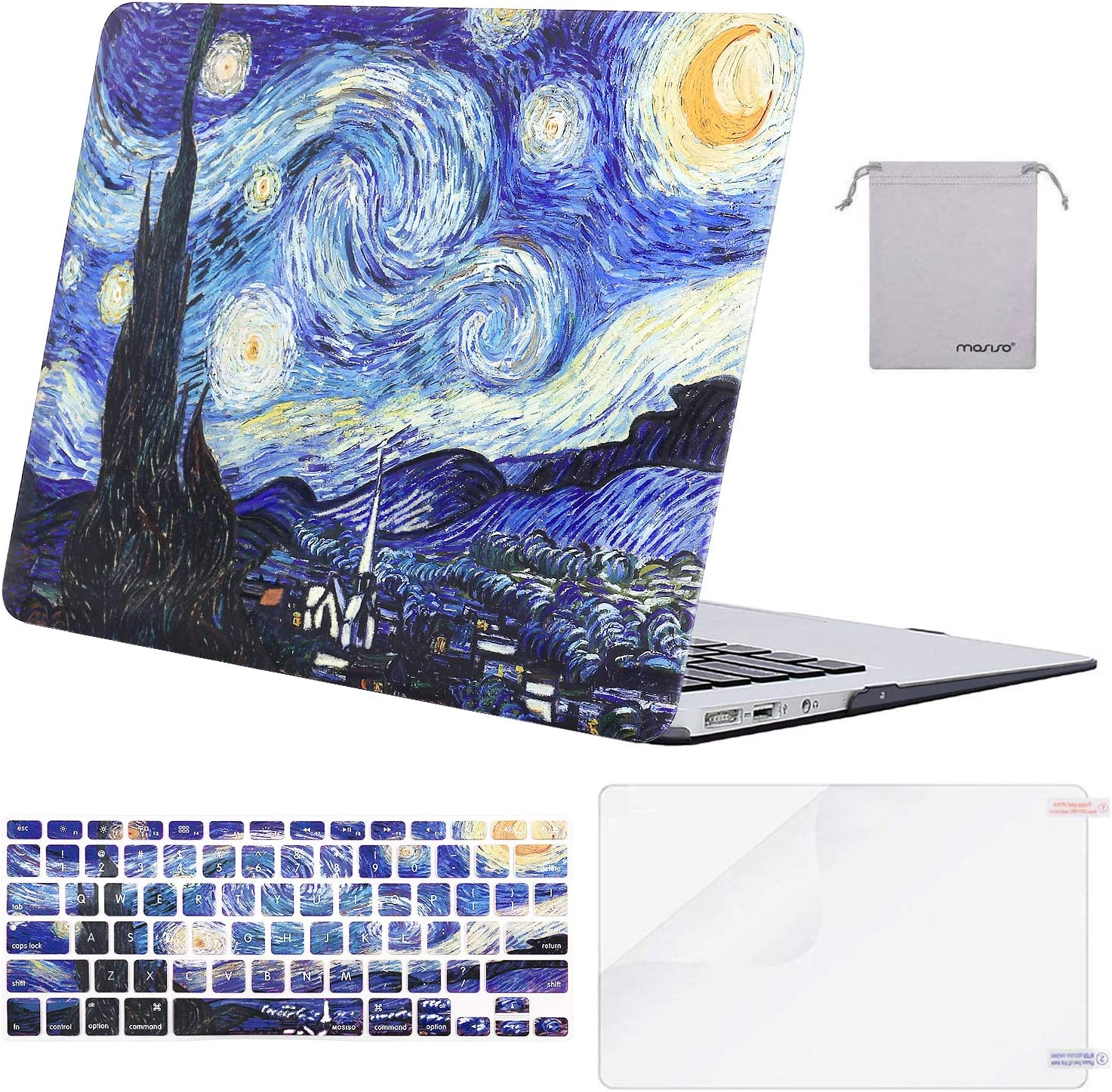 MOSISO MacBook Air 13 inch Case(A1369 A1466, Older Version 2010-2017 Release),Plastic Pattern Hard Case&Keyboard Cover&Screen Protector&Storage Bag Compatible with MacBook Air 13, Starry Night