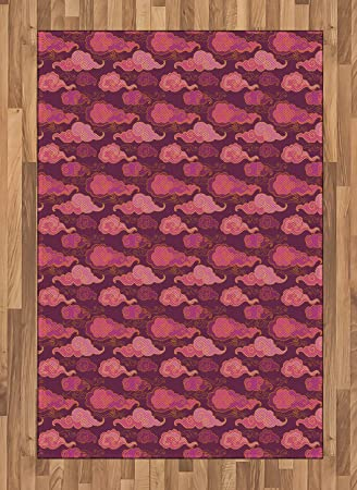 Amazon Com Ambesonne Purple Area Rug Clouds In The Sky Oriental