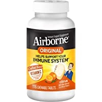 Airborne 116 Piece Immune Support Chewable Tablets, Citrus (Packaging May Vary)