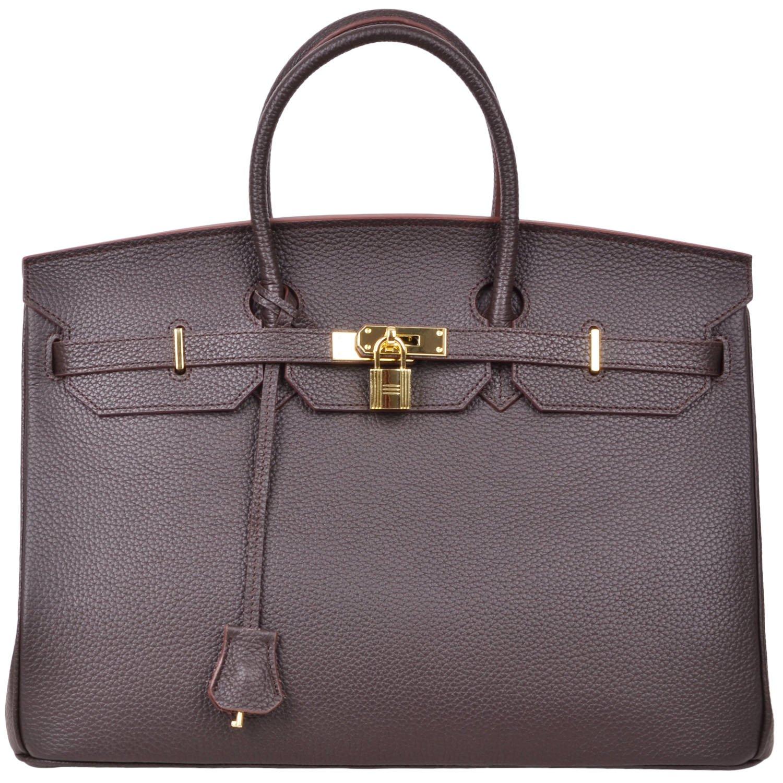 Cherish Kiss 40cm Oversized Padlock Business Office Top Handle Handbags (40cm with Gold Hardware, Coffee)