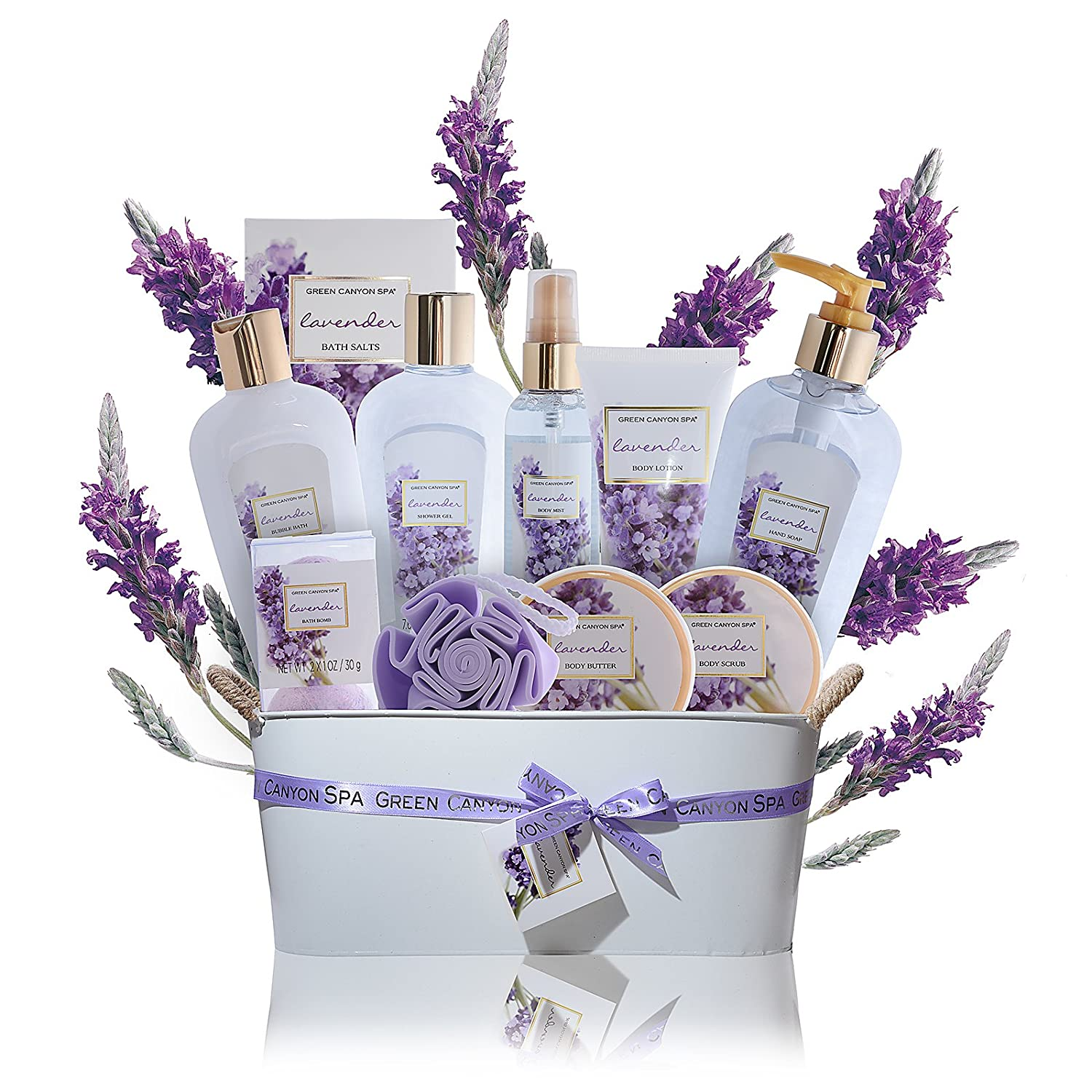 Luxury Lavender Gift Baskets for Women - 11 pcs Premium spa gift set with essential oils for Relaxation and Lush Spa Experience Perfect lavender gifts for women, mothers day gifts by Green Canyon Spa