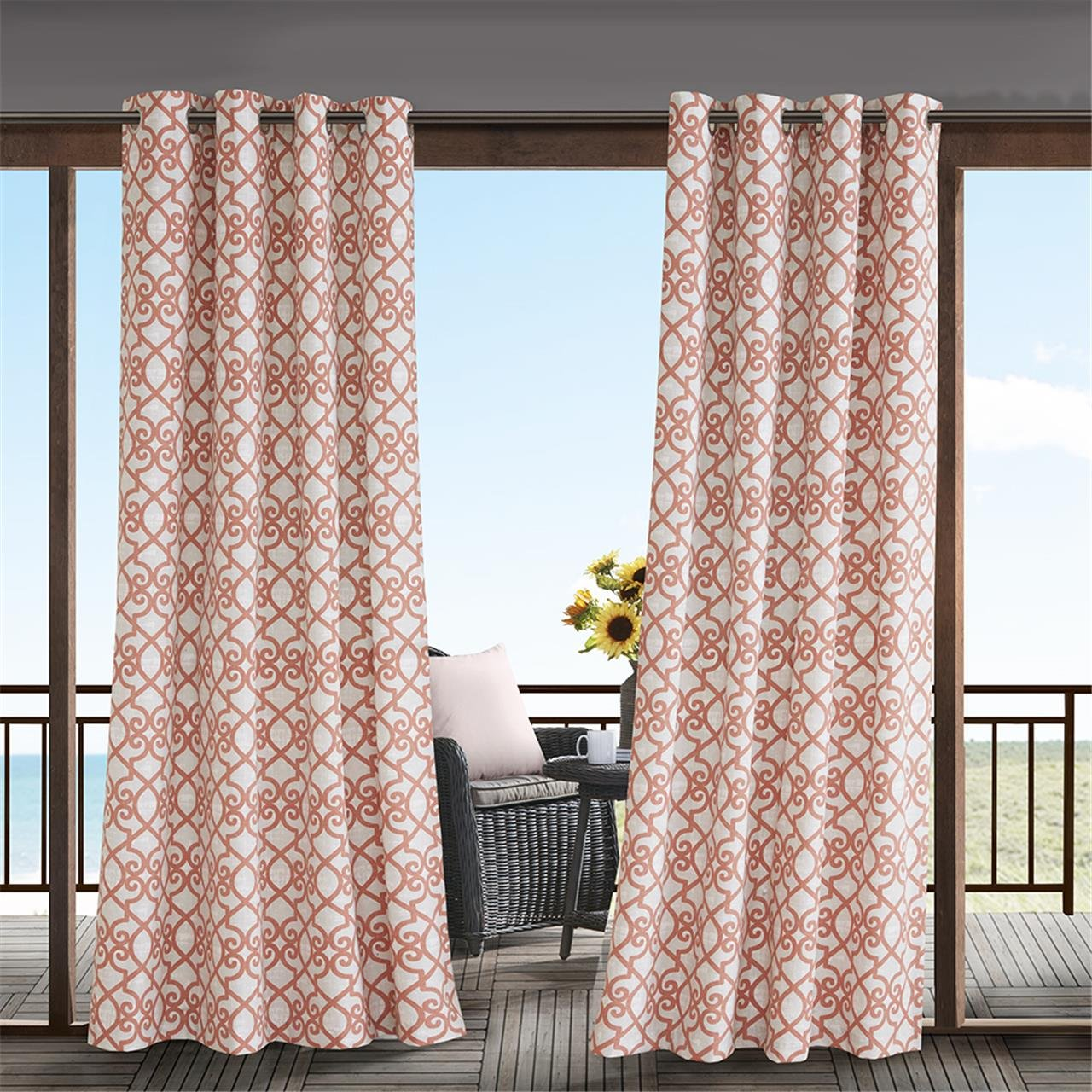 Light Panel Curtains For Door, Modern Contemporary Fabric Coral Window Treatments Curtains For Outdoor, Daven Print Window Curtains, 54X95'', 1-Panel Pack