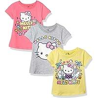 Hello Kitty Girls' 3 Pack Short Sleeve Crew Neck Tee Shirts