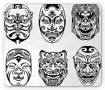Kabuki máscara alfombrilla de ratón por Ambesonne, japonés nogaku ...
