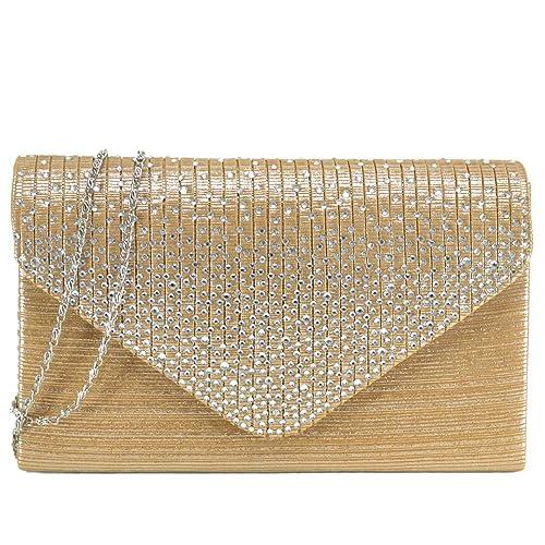 d0d58330547 Dasein Women Evening Envelope Handbag Party Prom Clutch Purse Shoulder  Cross Body Bag (Gold)