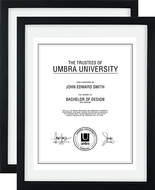 "Umbra Document Frame Black 11x14 Picture Frame Diploma Certificate Photo or Artwork Floating Frame for Displaying 8-1//2x11/"" or 11x14/"" Document"