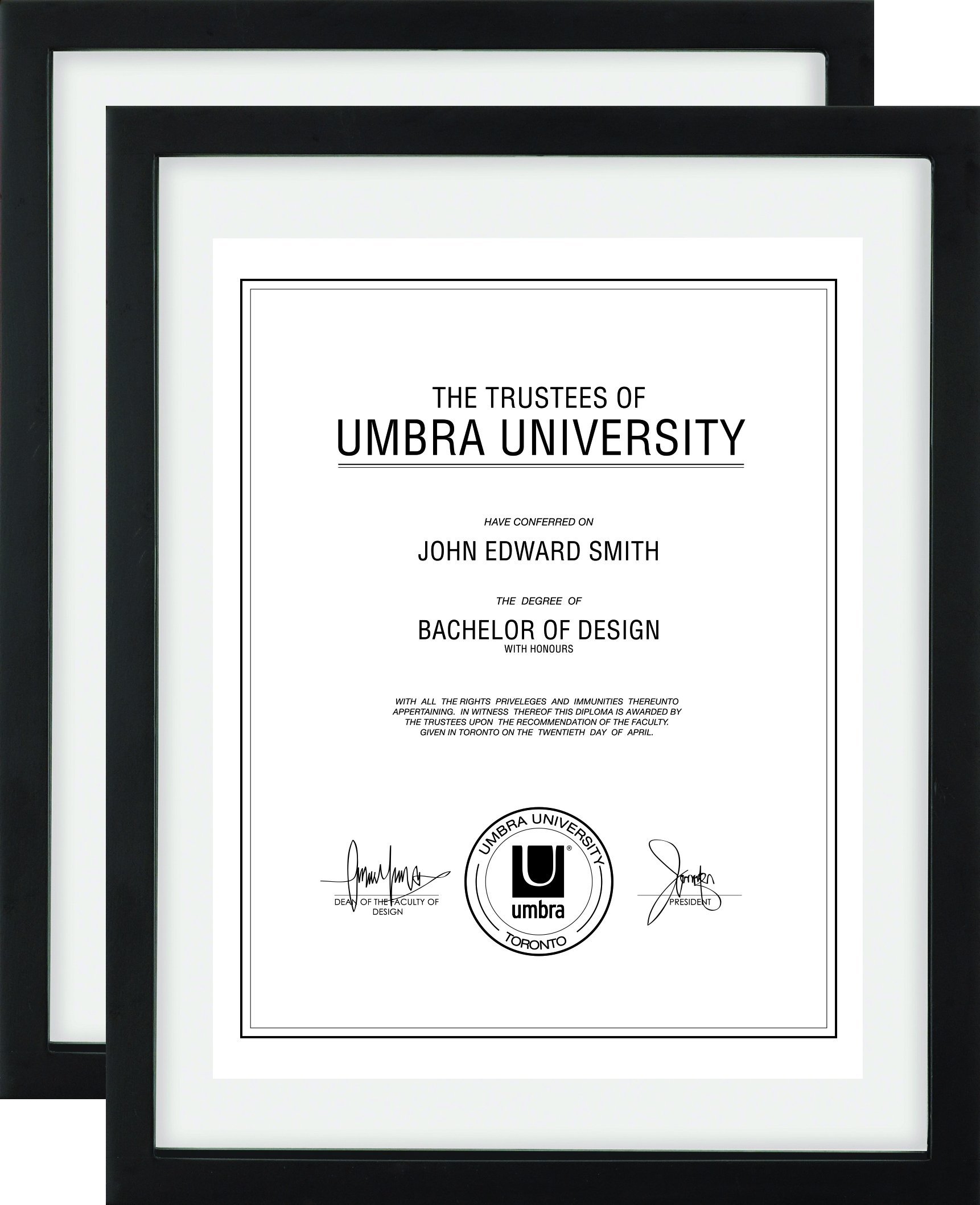 Umbra Document (2-Pack) - 11x14 Frame - Floating Frame for Displaying 8-1/2x11 or 11x14 Inch  Document, Diploma, Certificate, Photo or Artwork, Black by Umbra