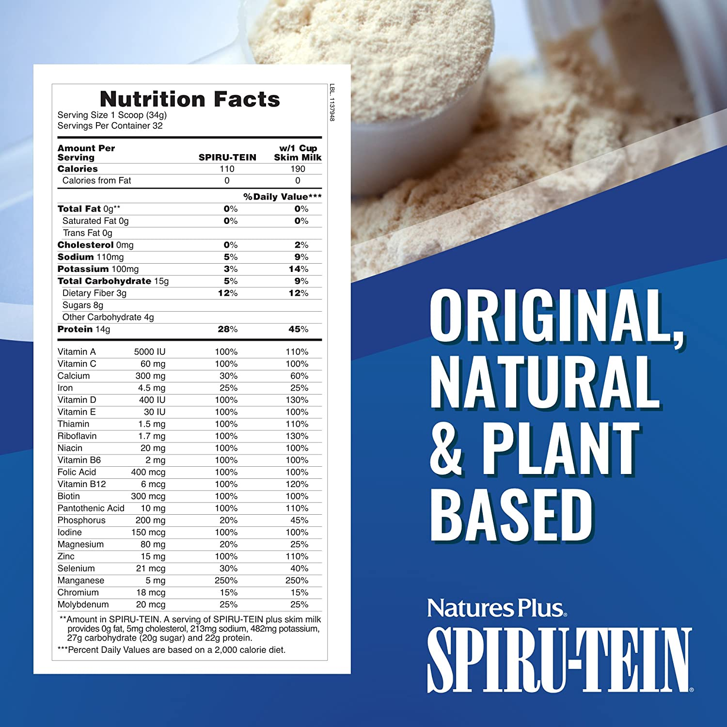 Spiru-Tein (Spirutein) Shake - Banana Natures Plus 2.4 lbs Powder by Natures Plus: Amazon.es: Salud y cuidado personal
