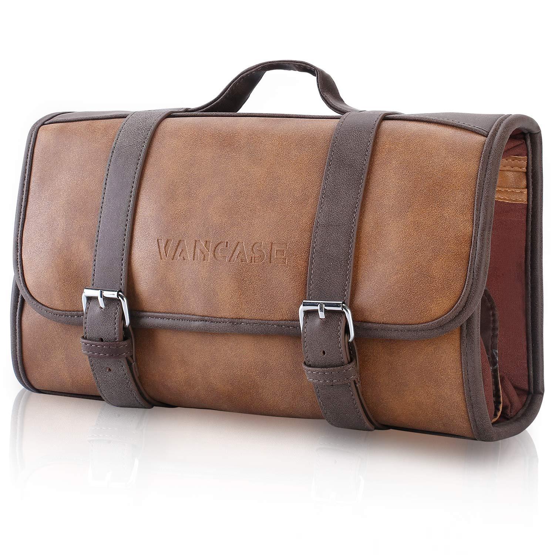 Vancase Hanging Toiletry Bag for Men Leather Dopp Kit/Bathroom Shower Bag/Travel Accessories Bag/Great Gift by VANCASE
