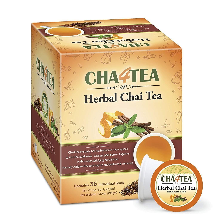 Cha4TEA 36-Count Herbal Chai Tea K Cups for Keurig K-Cup