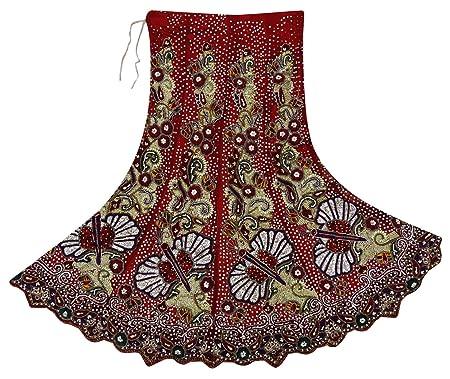 Falda Larga Vintage India con Cuentas de Mano para Mujer, Tela ...