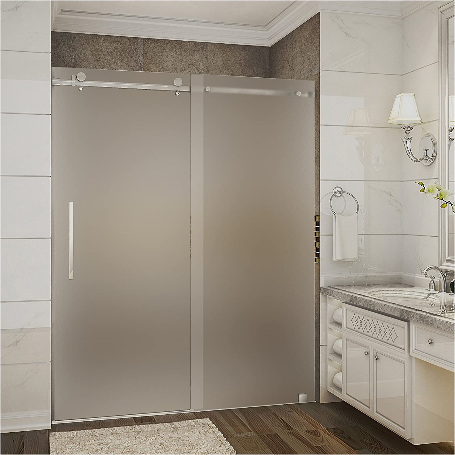 Aston Moselle 56 60 X 75 Completely Frameless Sliding Shower Door In Frosted Glass Brushed Stainless Steel Amazon Com