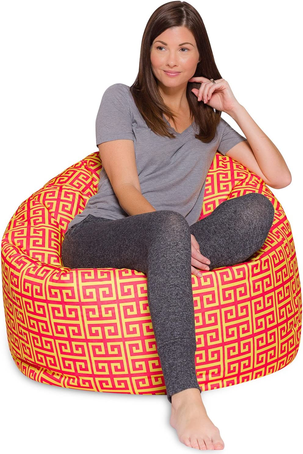 Posh Beanbags Big Comfy Bean Bag Posh Large Beanbag Chairs with Removable Cover for Kids, Teens and Adults Polyester Cloth Puff Sack Lounger Furniture for All Ages, 48in Extra, Scrolls Red and Yellow
