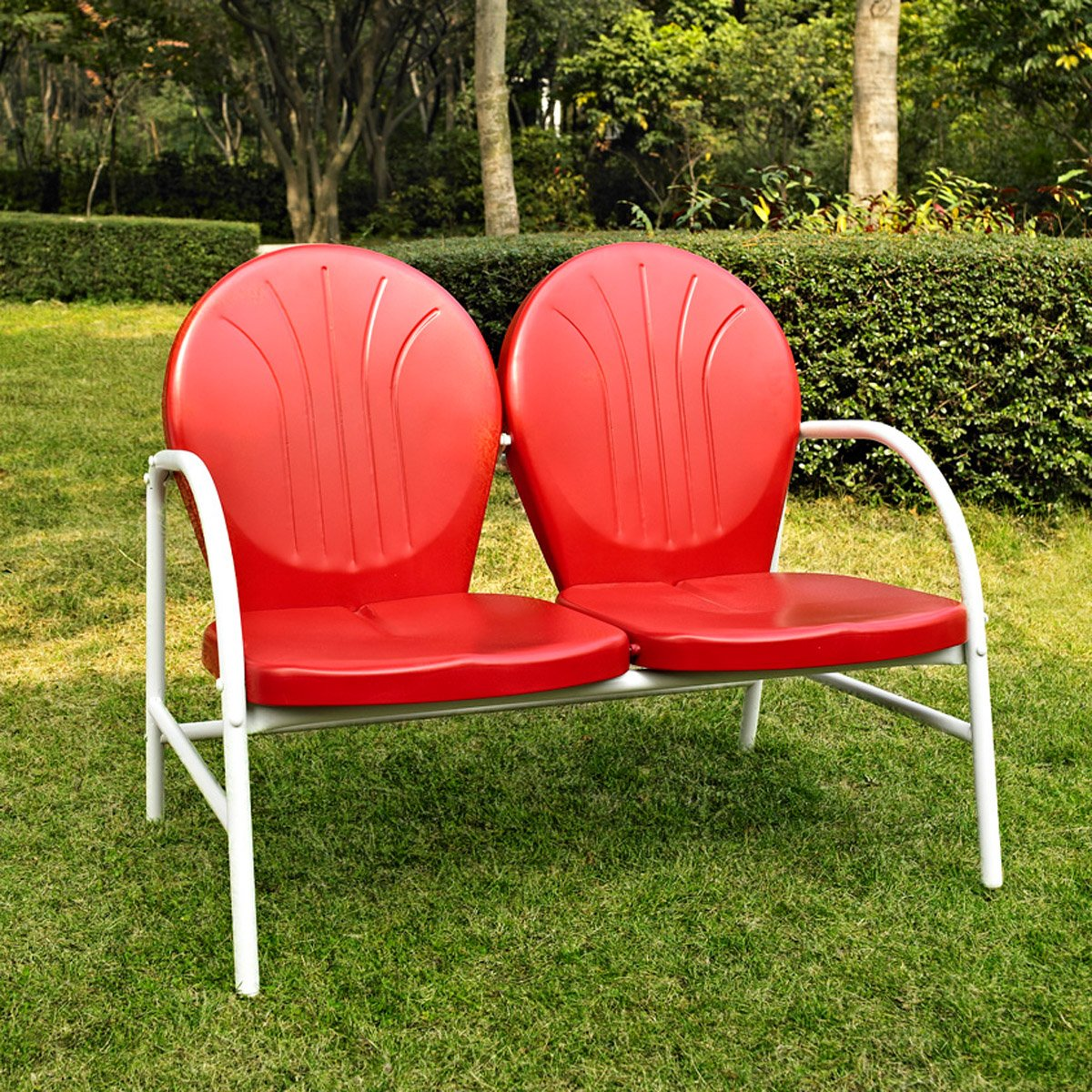 Crosley Furniture Griffith Metal Outdoor Loveseat - Red