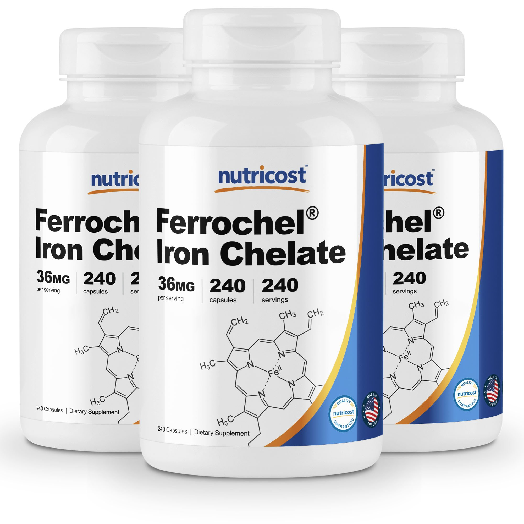 Nutricost Chelated Iron, As Ferrochel, 36mg, 240 Capsules (3 Bottles)