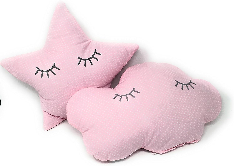 2 Cojines Bebe Decorativos Nube y Estrella Durmiendo Ideal para cuna - Danielstore (Rosa)