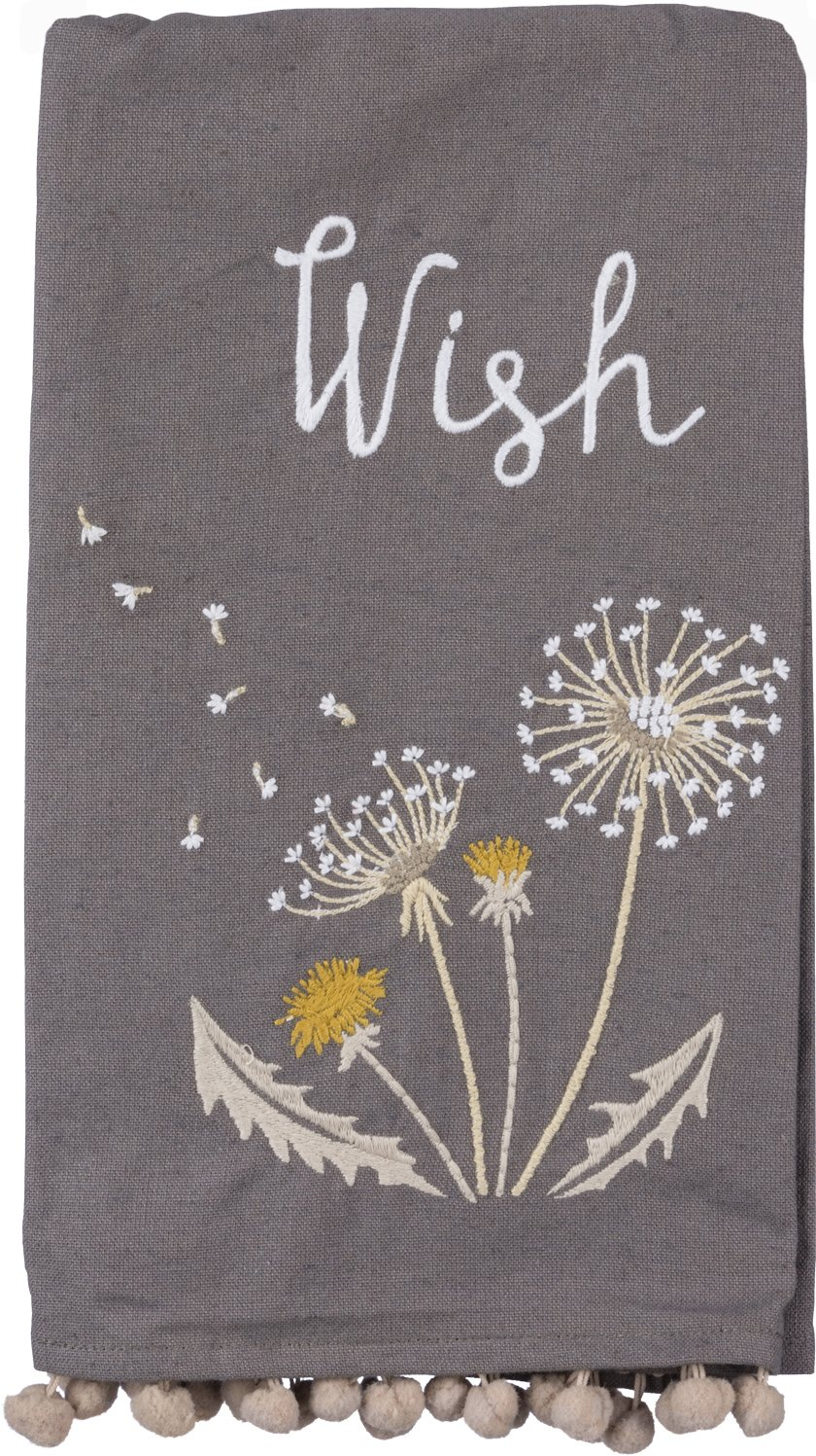 Primitives by Kathy ''Wish Kitchen Towel - Embroidered Dandelion with Windswept Seeds - 20'' x 26'' Premium Cotton/Linen Dishtowel with Pom-Pom Accents - 2018 Botanical Collection