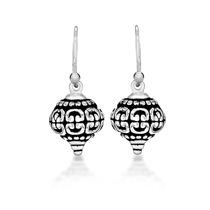 Tuscany Silver Sterling Silver Oxidised Antique Style Patterned Drop Earrings, 10.5 x 24 mm