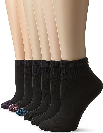 Hanes Women/'s 4-Pack Fit Low Cut Socks Black//White Shoe Size 5-9