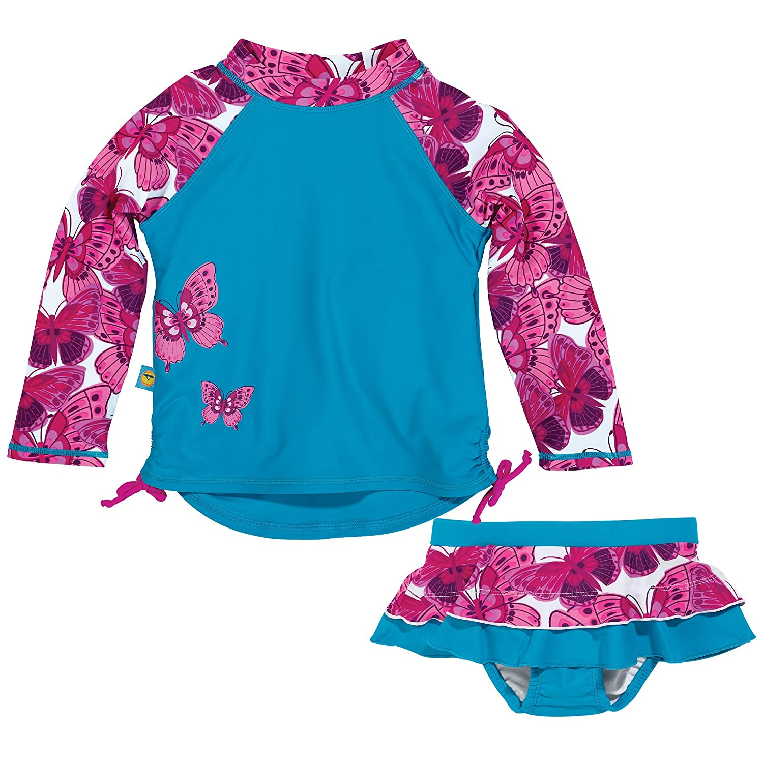 One Step Ahead Sun Smarties Butterfly Long Sleeve Rash Guard and Reusable Swim Diaper Skirt