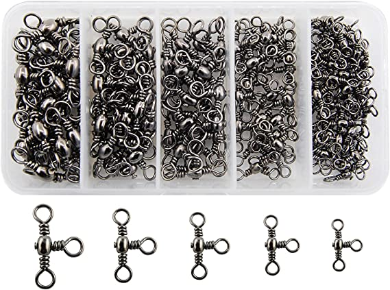 20Pcs Stainless Steel 3-Hole Fishing Rings Swivels Jig Baits Connector S M L