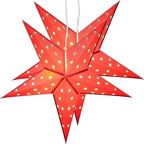 Stella Di Carta Natale.Brubaker Due Stelle Di Natale Stella Di Carta Carta Stella Pieghevole Con Luci Led 60 Cm O Rosso