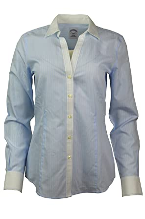 225dc250a5 Brooks Brothers Womens Striped Non-Iron Contrast Stitch V-Neck Button Down  Shirt Light
