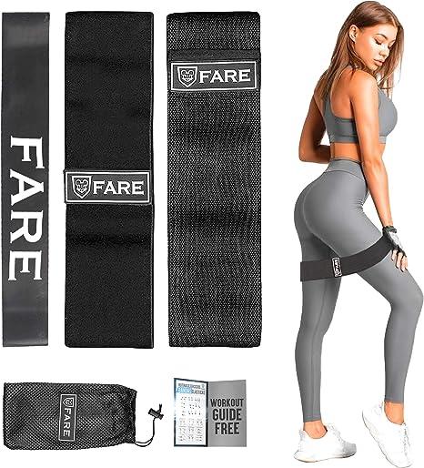 Fare Group Bandas Elasticas Gluteos Mujer/Hombre-Pack de 3 Cintas Fitness-Banda Algodon Poliester Latex Antideslizante-Entrenamiento en Casa ...
