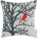 CaliTime Canvas Throw Pillow Cover Case for Couch Sofa Home, Cute Bird Tree Branches Silhouette, 18 X 18 Inches, Red Black