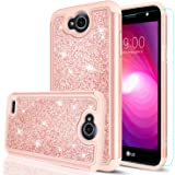 LEYI LG X Power 2 Case,LG X Charge/Fiesta LTE/K10 Power/LV7 Case with HD Screen Protector, Glitter Bling Cute Girls Women Dual Layer Heavy Duty Protective Phone Case for LG X Power 2 TP Rose Gold