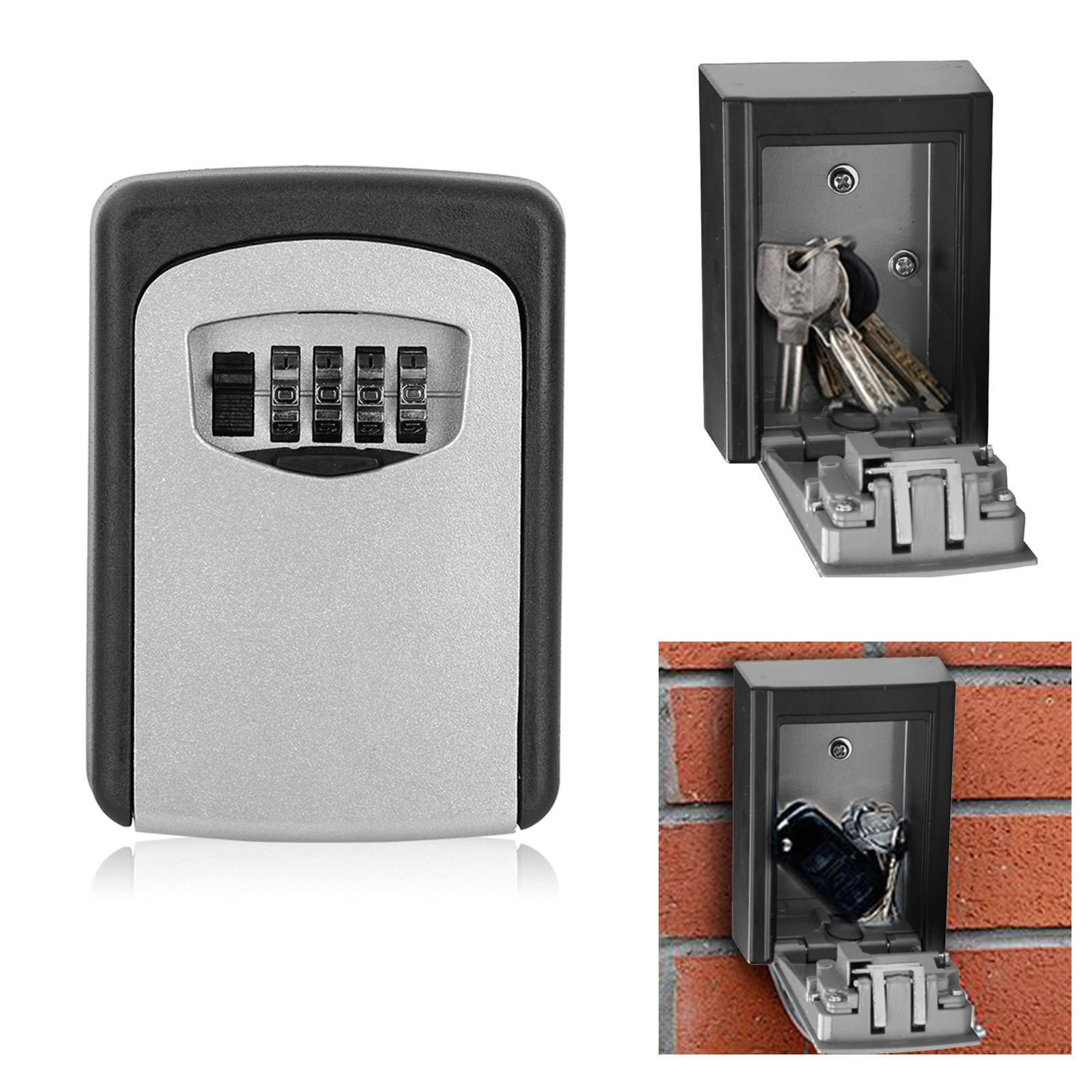 Geekercity 4 Digit Combination Wall Mount Key Safe Lock Box Code Secure Resettable Key Storage Box Rustproof Weather Resistant for Outdoor Indoors Holds up to 5 Keys