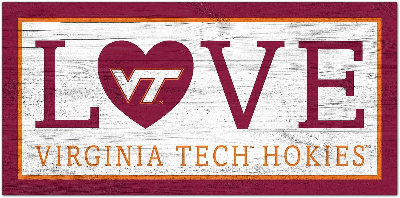 6 x 12 NCAA Virginia Tech Hokies Unisex Virginia Tech University Love sign Team Color