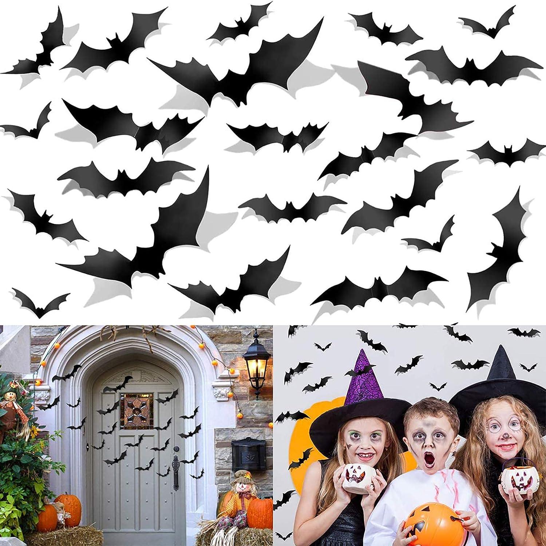 Halloween Bats Wall Decals Decoration, Yomiie 60 Pcs Window Stickers Vintage Scary Clings Halloween Party Supplies Indoor Outdoor Decor