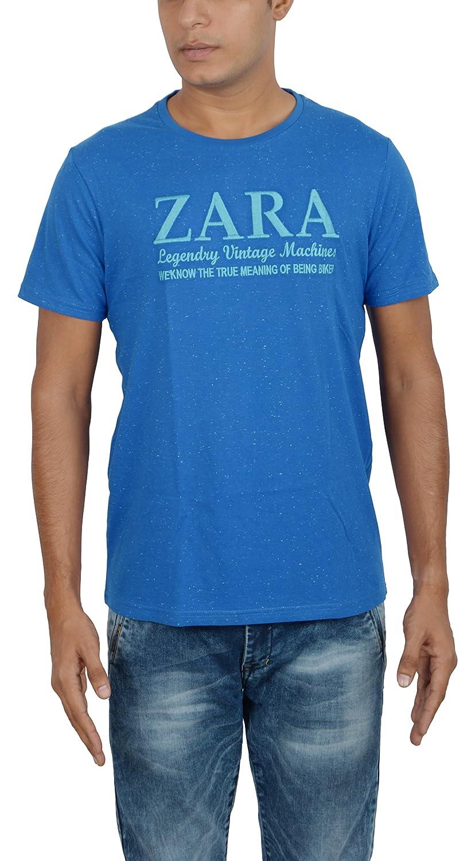 91798ac83c ZARA Men's Cotton T-Shirt (DOCR016027, Blue, XL): Amazon.in ...