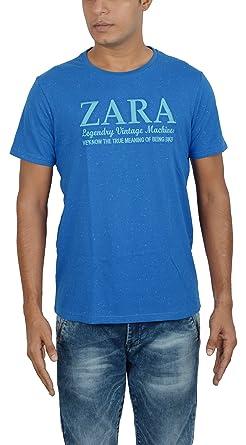 aca943abdc ZARA Men's Cotton T-Shirt (DOCR016027, Blue, XL): Amazon.in ...
