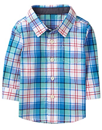 75bb56384 Amazon.com: Gymboree Baby Boys Long Sleeve Plaid Button Up Shirt: Clothing