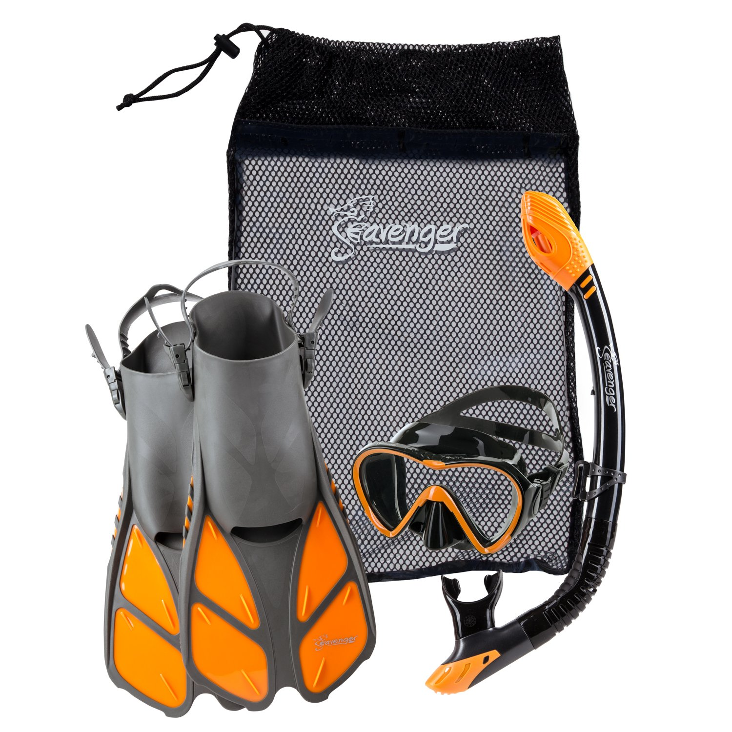 Seavenger Diving Dry Top Snorkel Set with Trek Fin, Single Lens Mask and Gear Bag, L/XL - Size 9 to 13, Gray/Black Silicon/Orange by Seavenger