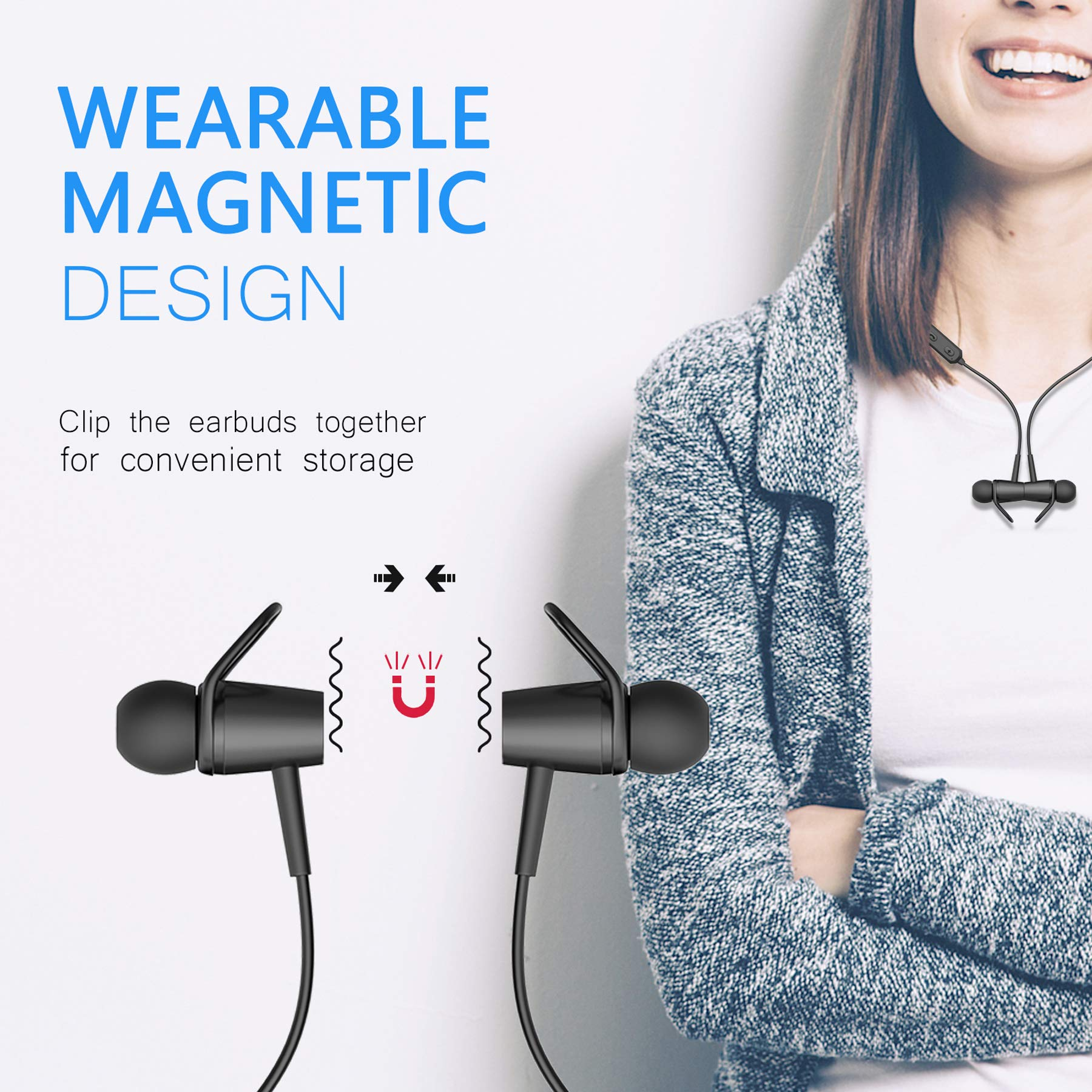 Bluetooth Earphones, Bluetooth 4.2 Magnetic Earphones, in-Ear Sweatproof Headphones with Mic for Running Gym Workout by BOQXIN (Image #2)