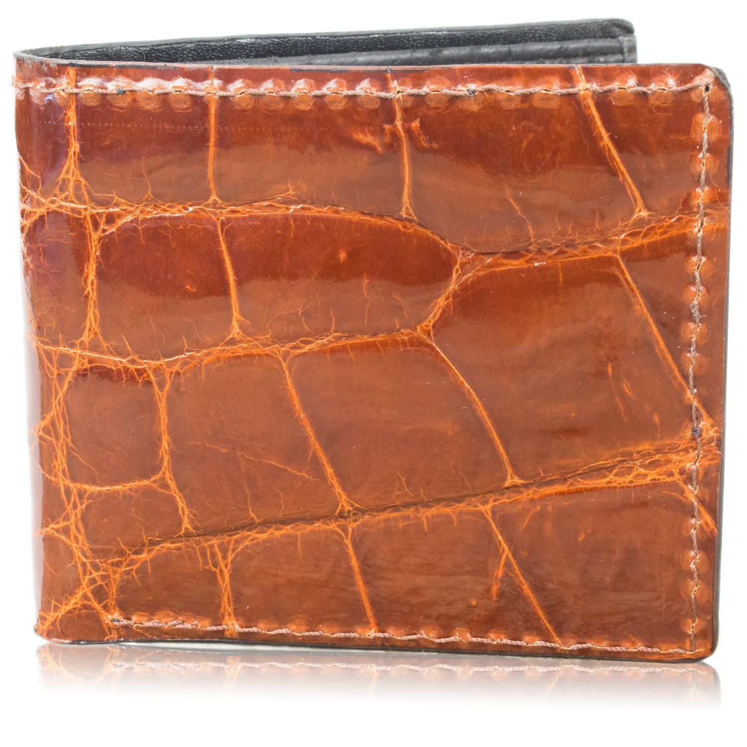 Genuine Alligator Skin Leather Bifold Wallet Handmade (8 Card Slots, Cognac)