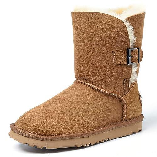 Shenduo Zapatos Invierno Botas de Nieve de Piel Oveja con Lana Interno Antideslizantes con botón para Mujer DV5803