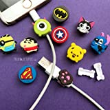 PrintOctopus Cartoon wire protector ( set of 5) (random character) for iPhone iPad | cable protector|USB Protector